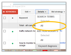 Google Adwords keyword details