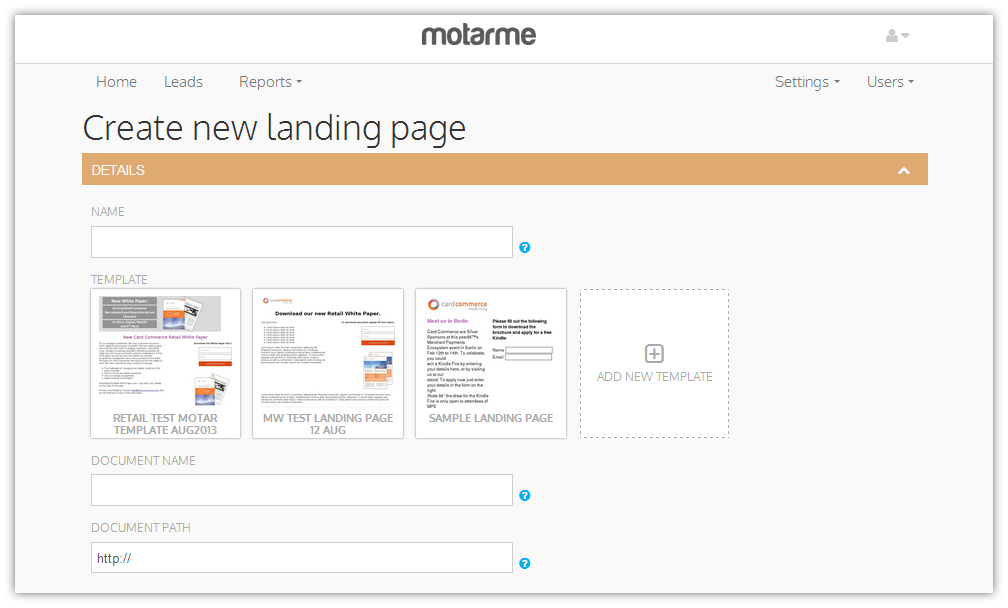 Create landing page